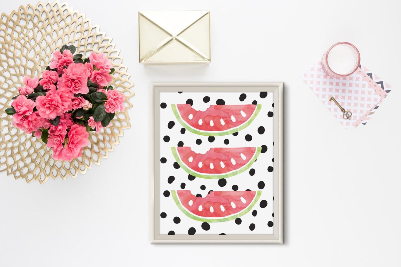 watermelon print home decor kitchen print fruit polka