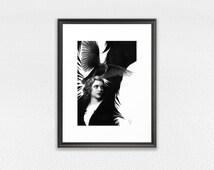 Framed Art Print, Lady Raven drawing print, vintage girl GICLEE PRINT, emotional raven drawing, surreal home decor, framed black raven art