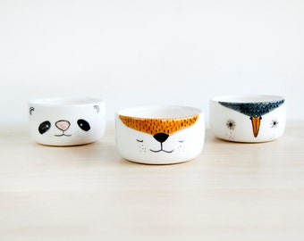 Small ceramic animals bowls, Small pottery bowls, Ceramics & pottery, Clay bowls, Ceramic bowl pottery, Ceramic bowl set, Fox panda owl bowl