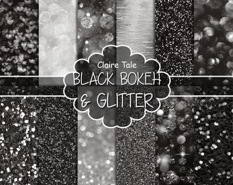 """Black digital paper: """"BLACK BOKEH & GLITTER"""" with black glitter background and black bokeh background for photographers and scrapbooking"""