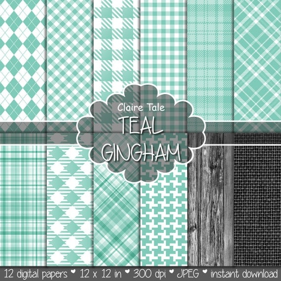 Teal gingham digital paper, Teal gingham patterns, Teal digital background, Teal printable party invitations paper, Teal digital tartan