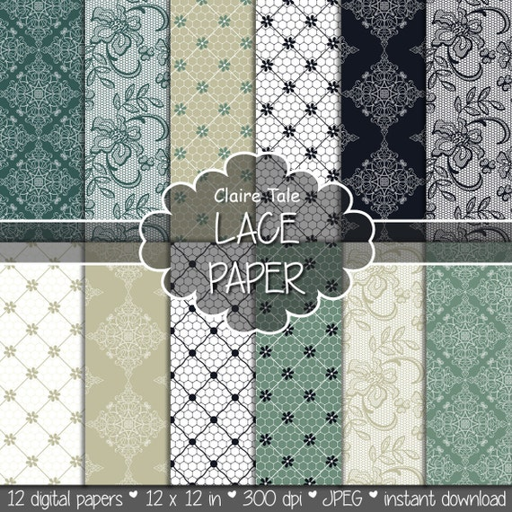"Lace digital paper: ""LACE PAPER"" with vintage gold black green background / lace texture / lace sheet / vintage wedding lace background"