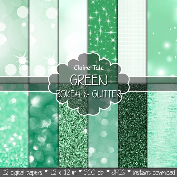 "Green digital paper: ""GREEN BOKEH & GLITTER"" with green glitter background and green bokeh background for photographers and scrapbooking"