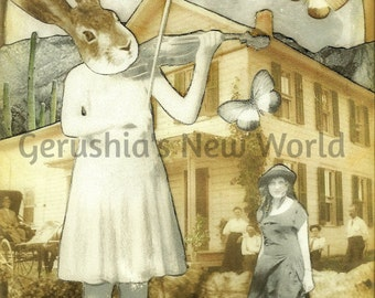 The Melody Maker's Home  -  Collage, Mixed Media, Anthropomorphic, Rabbit, Music