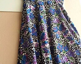 S - 70s does 50s Floral Day Dress - Summer Cotton Dress - Watercolor Flower Print - Violet Blue