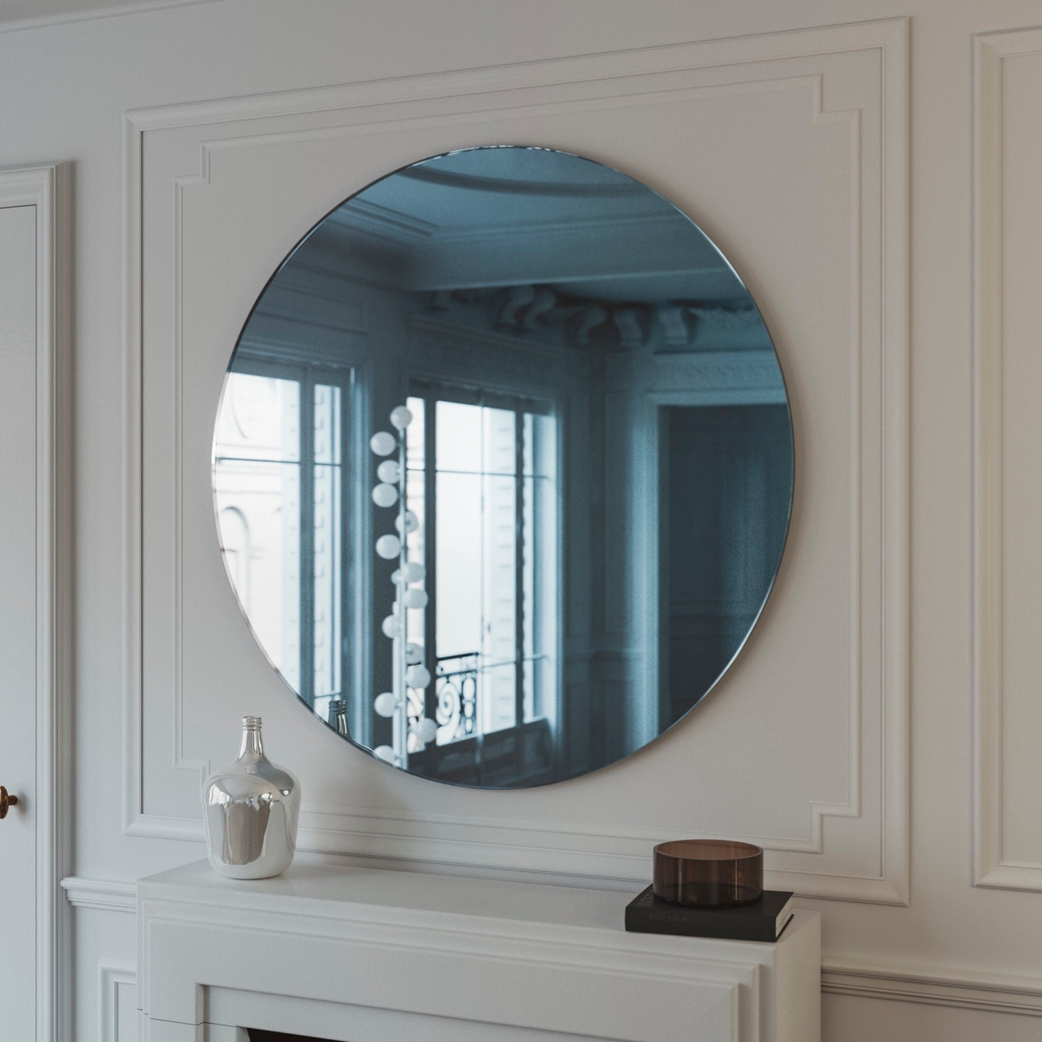 Blue midcentury mirror hanging blue wall mirror with light for Hanging mirror