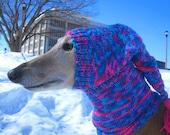 Dog hats-CUSTOM ORDER HAT/hand knit dog hat/greyhound hat/whippet hat/hound hat/dog warm ears/dog warm neck/dog snood/pet accessories