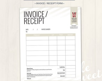Photography Studio / Invoice Receipt Form - Photoshop Template for photographers (IR01) - INSTANT DOWNLOAD
