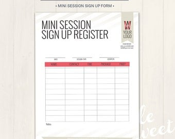 Photography Studio / Mini Session Sign Up Form - Photoshop Template for photographers (MSSU01) - INSTANT DOWNLOAD