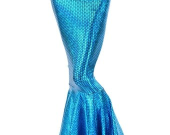 High Waist AquaMarine Shimmering Hologram Scale Metallic Mermaid Tail Skirt 151285