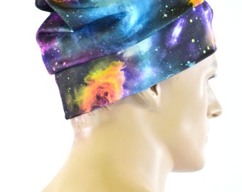 UV Glow Galaxy Print Slouchy Beanie Hat Stretchy Rave Festival Cap  -151333