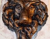 Sculptured Wolf Head//Wolf Decor//Native American Decor//Wolf Wall Sculpture//Faux Animal Head//Faux Taxidermy//Wall Mount Statue//Art