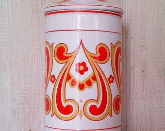 Vintage Orange Yellow & White Floral Scroll Print Tall Ceramic Canister Jar - Made in Japan