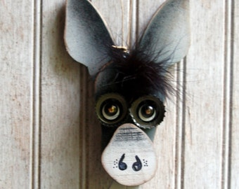 Donkey Ornament,  Recycled  Hand Made Ornament, Everyday Mule Ornament