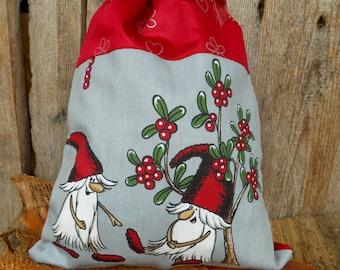 Scandinavian Christmas Gift Bag Swedish Christmas Santa Sack Christmas Gift Sack Gnome Elf Tomte Christmas Gift Wrap Nordic Christmas