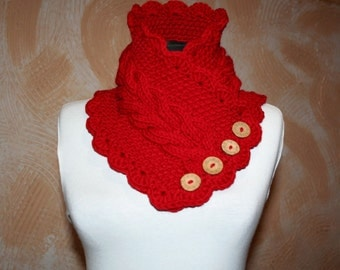 Knitted scarf collar. Red scarf. Warm scarf for women.