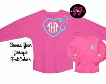 Custom Nursing Monogram Spirit Jersey - Choose Your Tee and Text Color