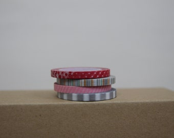 Washi Tape Set of 4  - thin washi tape set -  4 patterns - S202