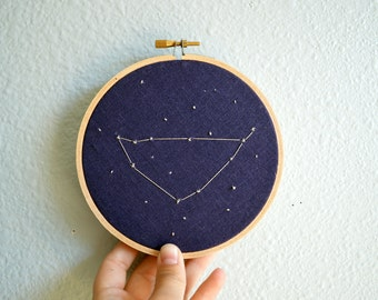 Capricorn Constellation Embroidery Hoop Art - Zodiac Star Sign, Astrology Wall Hanging, Hand Embroidered Capricorn Gift, Starry Sky