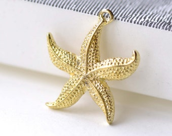 Shiny Gold Starfish Pendants Charms 23mm Set of 10 A8060