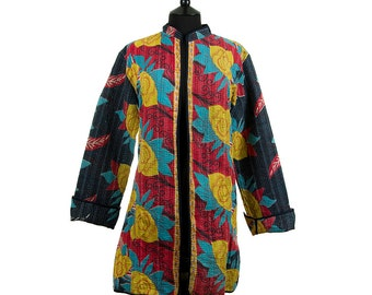 KANTHA JACKET - Large - Long style - Size 14/16 - Red, blue and yellow. Reverse similar.