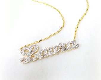 Diamond Name Necklace - handcrafted necklace - Personalized Necklace, Script Name necklace, Script Necklace, handmade Name Necklace