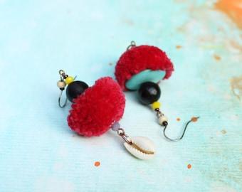 Ethnic boho chic pompon statement earrings raspberry red cowries seed coco bohemian dangling tassel pom pom pendant designer jewelry France