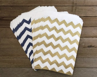 48 Gold and Navy Favor Bags--Chevron Favor Bag--Candy Favor Bag--Chevron Goodie Bags--Chevron Party Sack--Birthday Treat Sacks