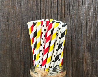 Mickey Paper Straws, 100 Yellow Stripe Straws, Black Dot Straws, Birthday Straws, Paper Straws, Free Shipping
