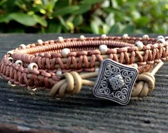 Wrap Bracelet - Macrame Wrap Bracelet  - Bohemian Jewelry -  Leather Wrap Bracelet - Filigree Button -  Double Wrap Bracelet