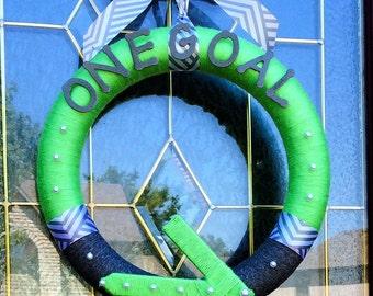 "CLEARANCE: Pelatonia Yarn Wreath 14"", One Goal, Awareness"