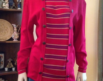 Great Red and Striped Eighties Sweater