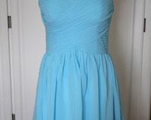 Blue Sweetheart Bridesmaid Dress Blue Chiffon Knee Length Strapless Dress-Custom Dress
