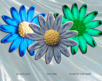 EyeGloArts Glow in the dark jewelry Purple Blue White and Teal Daisy Pendant polymer clay millefiore Handmade in the USA