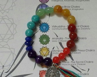 Chakra bracelet semi precious gem stone 7 color chakra bracelet