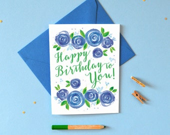 Watercolor Birthday Card, Floral Birthday Cards, Happy Birthday Card, Birthday Card Friend, Birthday Card, Greeting Card, Card Birthday