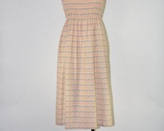 70s smocked cotton dress / shirred bodice dress / strappy floral dress / boho summer dress