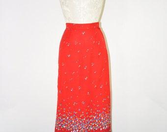 red floral midi skirt / floral bohemian long skirt / vintage summer skirt