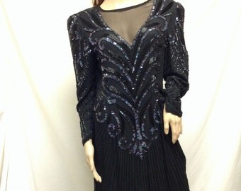 A.J. Bari ,Beaded Dress ,Size 12,12, Black ,Purpl,e Art Deco dress, Sequin