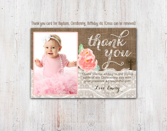 Christening Thank You Card Baptism Thank You Cards Birthday