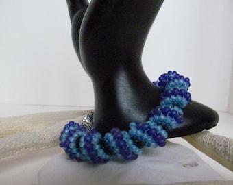 Spiral bracelet, Celini spiral bracelet, blue spiral beaded bracelet, purple beaded bracelet,