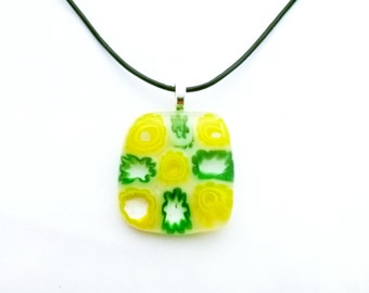 Kiln-fused pendant in yellow and green flower glass/Gardener necklace/Flower necklace