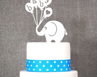 Baby Elephant Cake Topper, Fun Baby Shower Topper, Classic Baby Cake Topper- (T191)