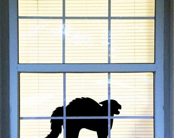 Halloween Cat Decal, Scaredy Cat Vinyl Decal, Black Cat Decal