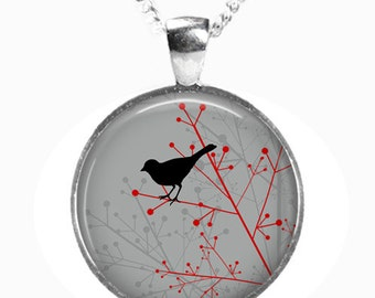 BIRD on BRANCH - Glass Picture Pendant on Chain - Silver Plated (Art Print Photo K16)
