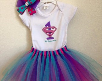Super Girl Onesie with Tutu (Hair bow not included)