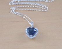 "925 Sapphire (Lab Created)Heart Pendant & 18"" Chain/925 Sapphire Necklace/Sapphire Jewellery/Sapphire Jewelry/September Birthstone Jewelry"