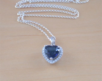 "925 Sapphire (Lab Created)Heart Pendant & 18"" Chain/925 Sapphire Necklace/Sapphire Jewellery/Sapphire Jewelry/September Birthstone Jewelry"