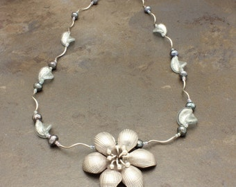 34 - Sterling Silver, Thailand, Freshwater Pearls, Hand Blown Venetian Glass, Seed Beads, Necklace, One of a Kind