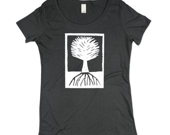 Womens Tree T-shirt  - BAMBOO - Charcoal Grey Wood Cut Tree Shirt - In Small, Medium, Large, XL